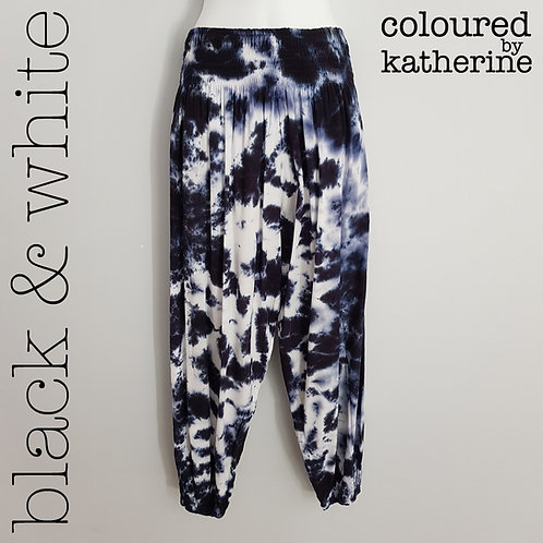 Gypsy Pants - Black & White Marble