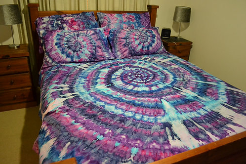 Quilt Cover Set - Spiral Ice dyed
