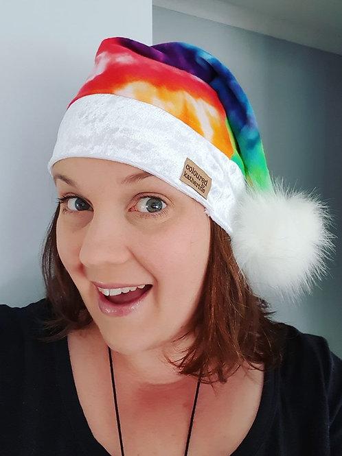 Rainbow Christmas Santa Hat