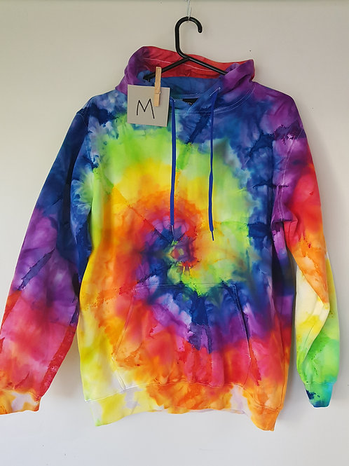 Tie Dyed Adults Unisex Hoodie -Ice Dyed Rainbow