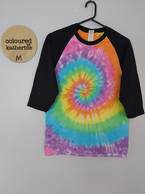 Raglan 3/4 sleeve tshirt - Pastel Rainbow