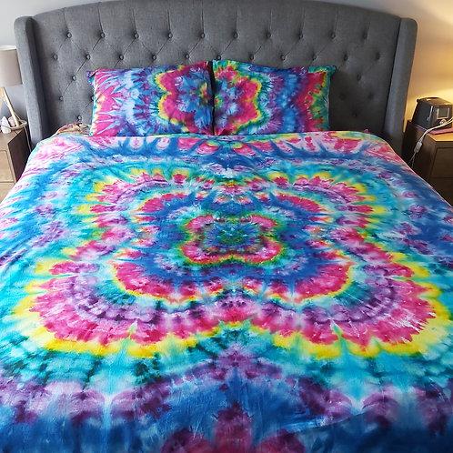 KING Quilt Cover Set - Linen Blend - Kaleidoscope Flower