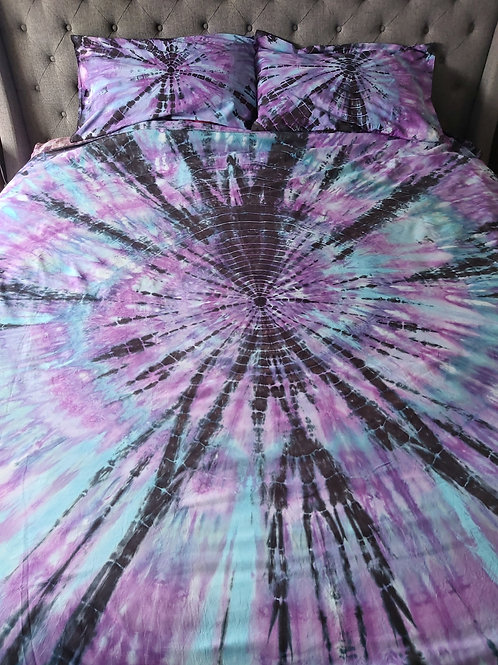 KING Quilt Cover Set - Purple Teal and Black Tie Dye Spectacular