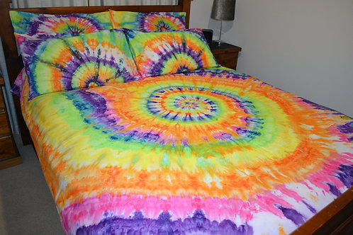 Quilt Cover Set - Rainbow Spiral - Ice Dyed