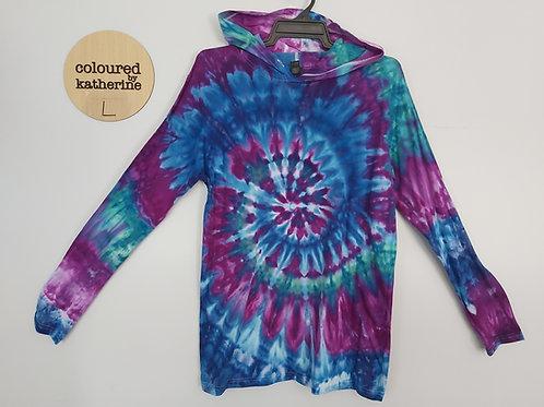 Adults Unisex Lightweight Hoodie - Ice Dyed Mirage Spiral