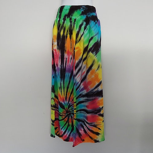 Maxi Skirt with Pockets -Rainbow with Black