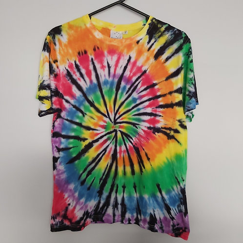 Unisex Adults Tee - Rainbow with Black Spiral