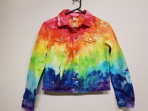 Denim Jacket Rainbow Ice Dye