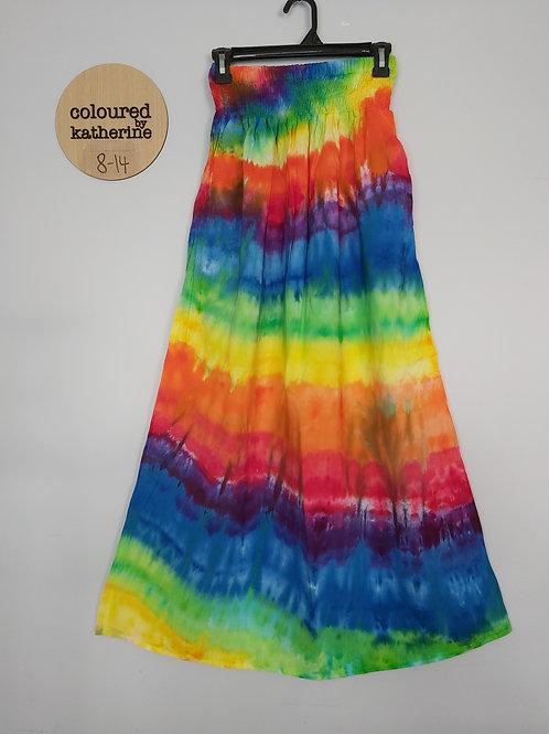 Maxi Skirt with Pockets -Rainbow Ice Dyed