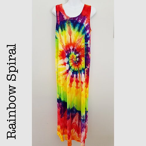 Ladies Jersey Tank Dress - Rainbow Spiral
