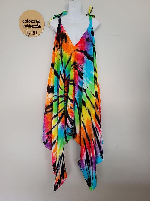 Jumpsuit - Tie Dye Rainbow with Black Spiral