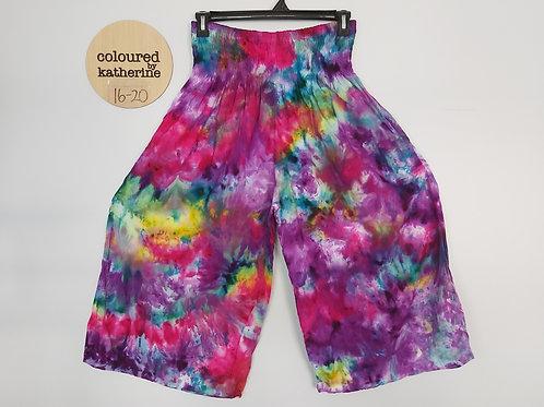 Wide Leg Crop Pants - Kaleidoscope Tie Dye