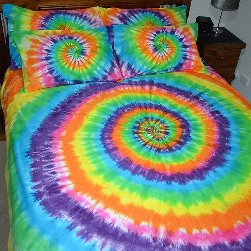 Quilt Cover Set - Rainbow Liquid Spiral
