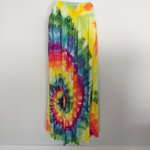 Maxi Skirt with Pockets -Rainbow Icy Dyed Spiral