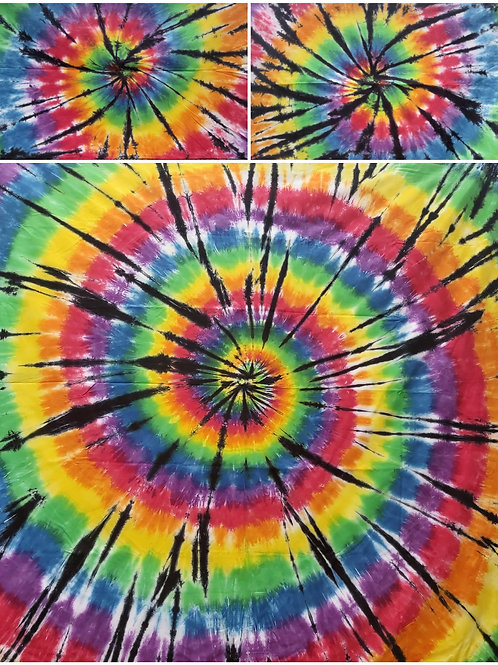 QUEEN/DOUBLE Quilt Cover Set - Rainbow and Black Tie Dye Spiral