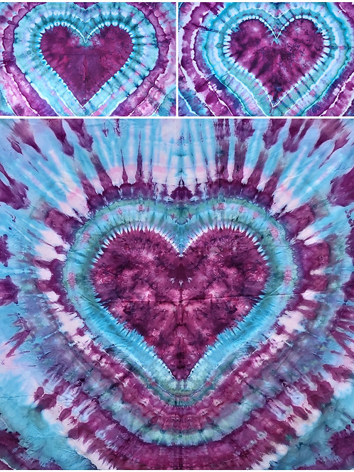 QUEEN/DOUBLE Quilt Cover Set - Purple and Teal Iced Tie Dye Hearts