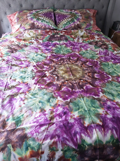 KING Quilt Cover Set - Brown, Purple and Green Iced Tie Dye Mandala