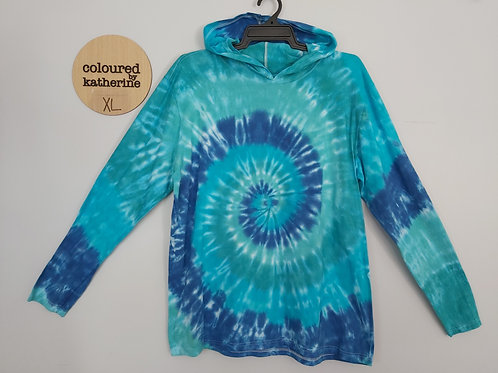 Tie Dyed Adults Unisex Lightweight Hoodie - Ocean Spiral