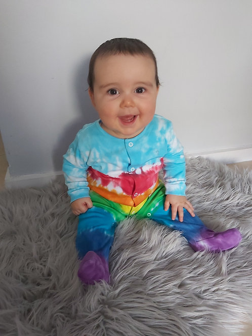 Baby Jumpsuit - Rainbow with Blue Sky