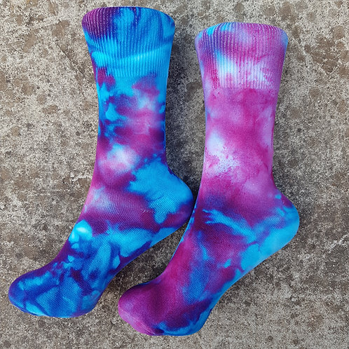 Unisex Tie Dye Ice Dyed Socks - Blue Violet
