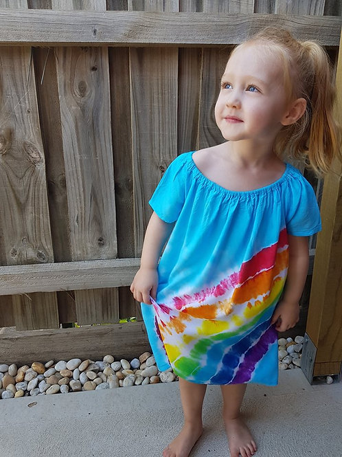 Girls Cap Sleeve Dress - Rainbow with Blue Sky