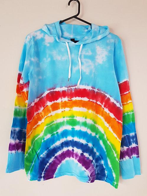 Adults Unisex Lightweight Hoodie - Rainbow with Blue Sky