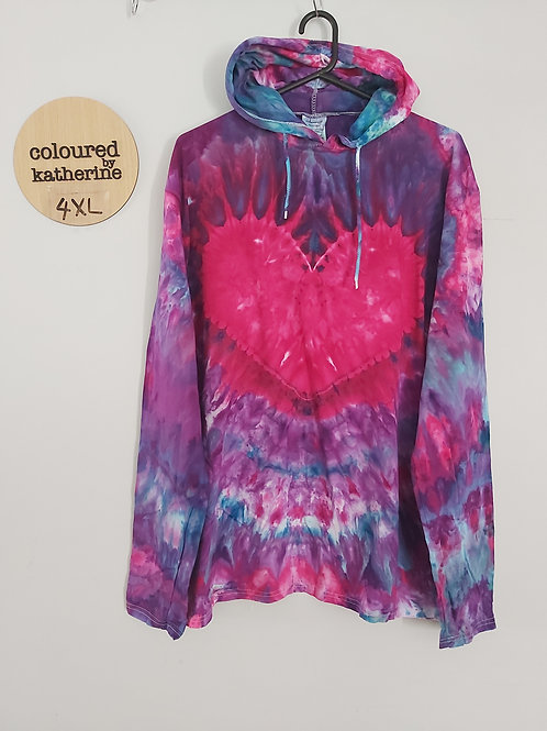 Tie Dyed Adults Unisex Lightweight Hoodie - Heart
