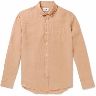 NN07- Levon Button-Down Collar Linen Shirt= Light Brown