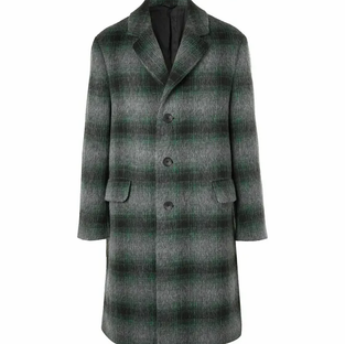 Mr P- Checked Brushed Virgin Wool and Llama Hair-Blend Coat- Green