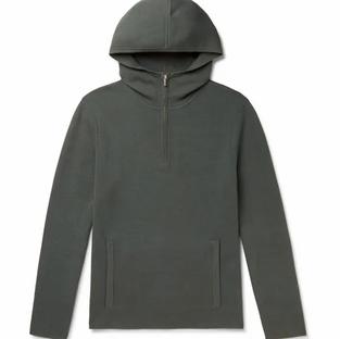 Club Monaco- Cotton-Blend- Grey Half-Zip Hoodie