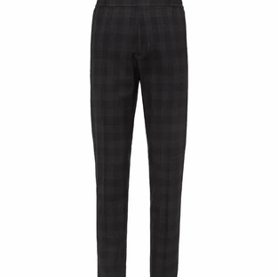 Mr P- Slim-Fit Tapered Checked Stretch Wool and Cotton-Blend Trousers