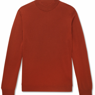 NNO7- Martin Wool Mock-Neck Sweater- Orange