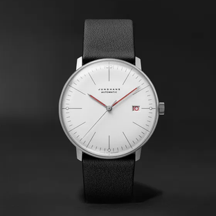 Junghans- Max Bill Bauhaus Automatic 38mm Stainless Steel and Textured-Leather Watch, Ref. No. 027/4009.02