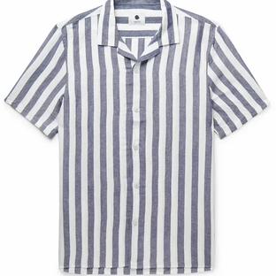NN07- Miyagi Camp-Collar Striped Linen Shirt