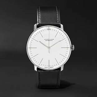 Junghans- Max Bill Automatic 38mm Stainless Steel and Leather Watch, Ref. No. 027/3501.00