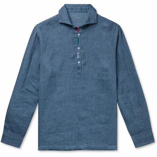Altea- Embroidered Linen Half-Placket Shirt