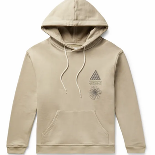 Satta- Dao Enzyme-Washed Printed Organic Loopback Cotton-Jersey Hoodie- Beige