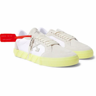 Off White-Suede and Canvas Sneakers- White