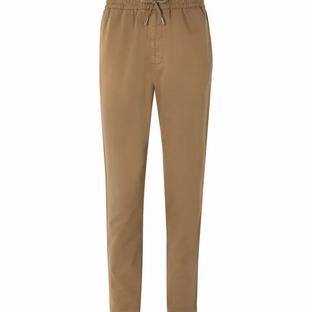 Mr P- Slim-Fit Cotton-Twill Drawstring Trousers- Tan