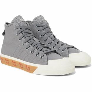 Adidas Consortium- + Human Made Nizza Canvas High-Top Sneakers- Gray