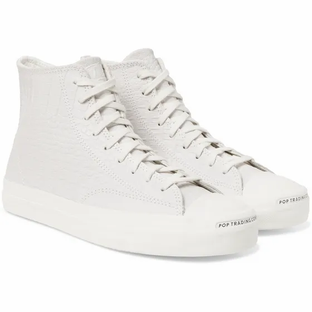 Converse- + Pop Trading Company Jack Purcell Embossed Leather High-Top Sneakers- Cream