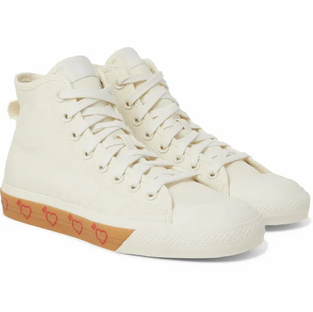Adidas Consortium-+ Human Made Nizza Canvas High-Top Sneakers- Off White