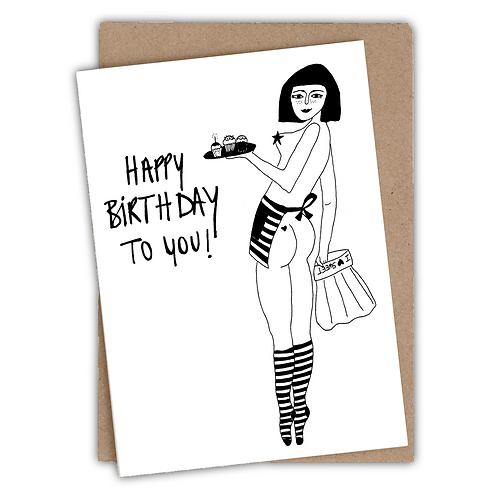 Kaart | Pin-up cake girl l  | Happy birthday | Trotz