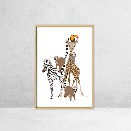 Poster Jungle dieren (A4)   StudioEEV