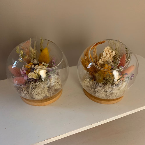 Droogbloemen  |  Glazen bol | Craft en Vintage