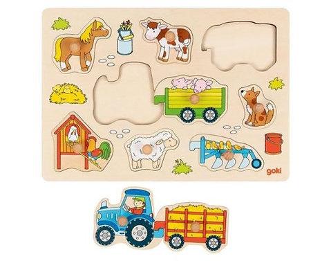 Puzzel Boerderijdieren-Goki- Houten speelgoed