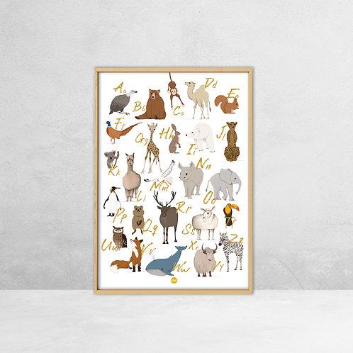 A2 Poster|  ABC dieren | Studio Eev
