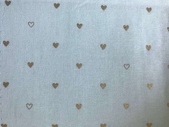 Teal with Gold Hearts