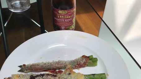 Baked Asparagus with Guanciale & balsamic vinegar