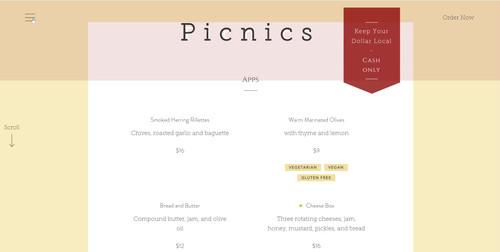 Picnics Website Preview